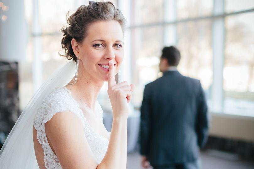 Bride and Groom First Sight at Carlson Towers Rotunda wedding in Minneapolis, Minnesota.