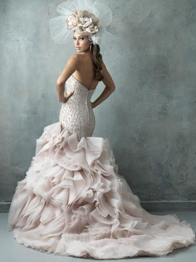 Wedding dress with soft pink bottom