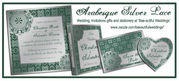 Arabesque Silver lace - customizable colours and texts