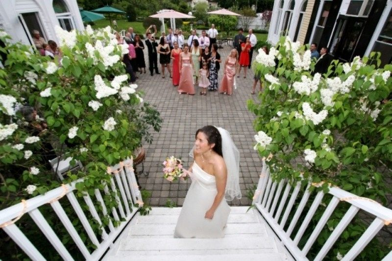 Bride by the stairs