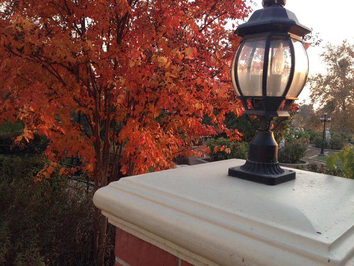 fall entrance to rose garden