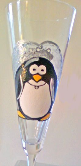 Clearly Susan's custom hand painted penquin bride wedding glasses is a delightful, whimsical way to...