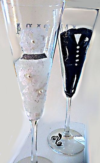 Bride and groom hand painted wedding glasses made with real lace, pearls and a real bow tie. Perfect...