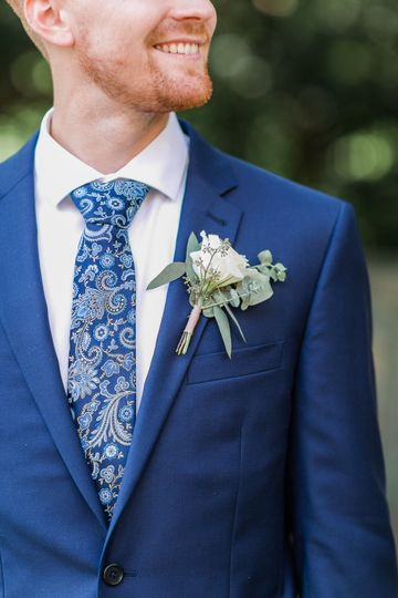 Boutonniere and blue