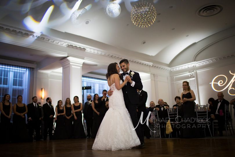 Couple dancing on dance floor