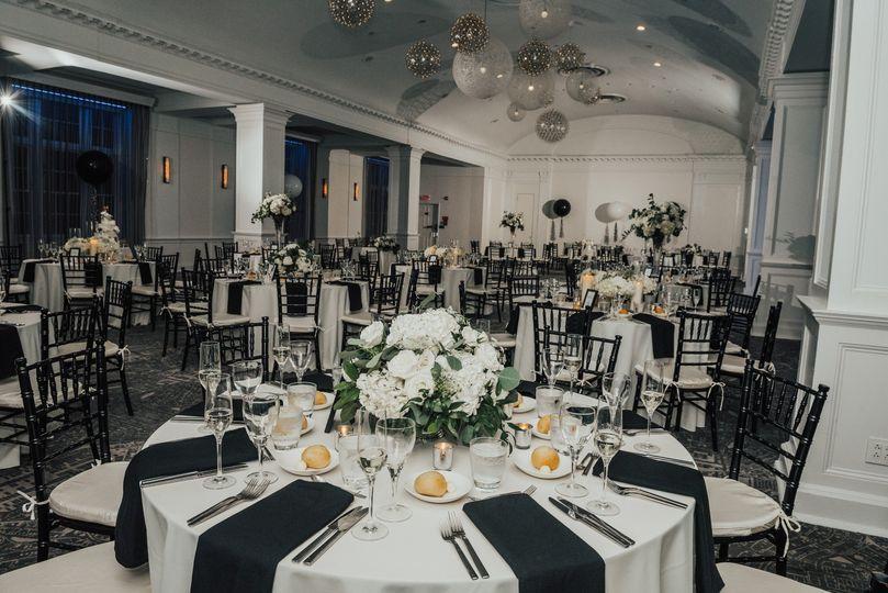 Reception set up in ballroom
