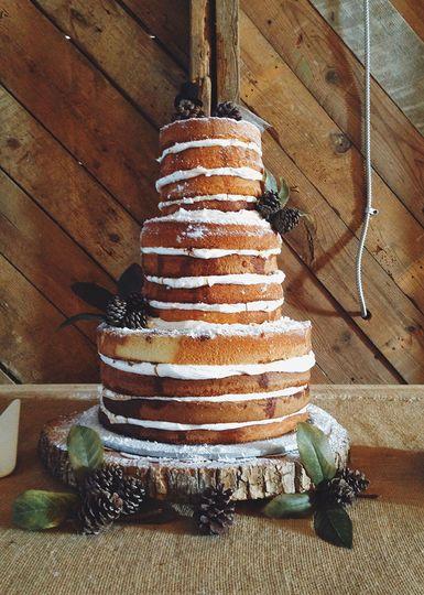 rustic naked tiramisu barn wedding cake