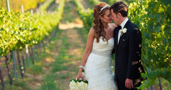 Bride & Groom in a vineyard at a wedding at Callaway Winery in Temecula