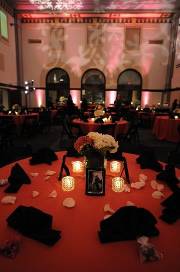 Candlelit reception table