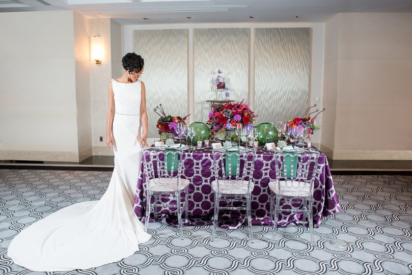 bride and table