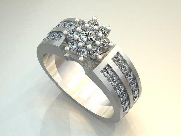 DiamondFlowerClusterRing