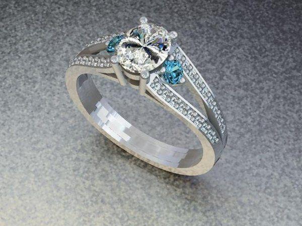 Tmx 1240431663859 DiamondRingwithBlueTopazsidestones Lutherville Timonium wedding jewelry