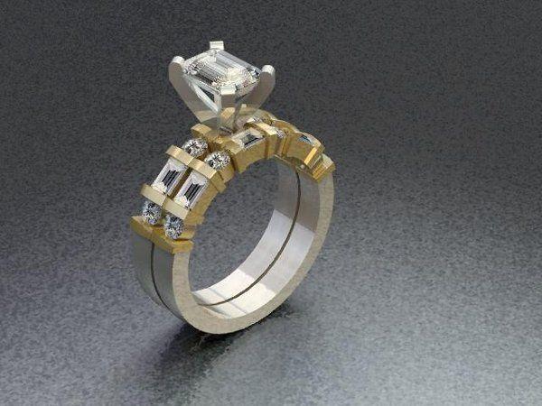 Tmx 1240431691296 TwoToneEmeraldCutEngagementRingwithMatchingBand Lutherville Timonium wedding jewelry