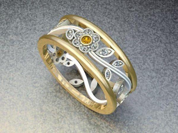 Tmx 1240431700796 TwoToneWrapFlowerBand Lutherville Timonium wedding jewelry