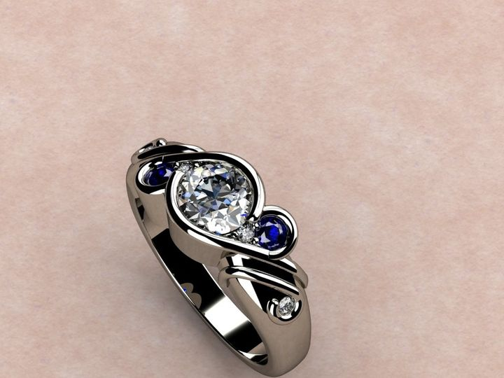 Tmx 1390595811180 5 Stone Diamond And Sapphire Rin Lutherville Timonium wedding jewelry
