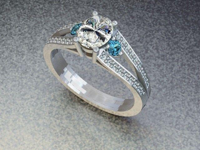Tmx 1390595828464 Diamond Ring With Blue Topaz Side Stone Lutherville Timonium wedding jewelry