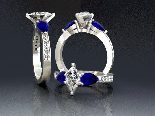 Tmx 1390595844679 Marquis Diamond With Pear Shaped Sapphire Lutherville Timonium wedding jewelry