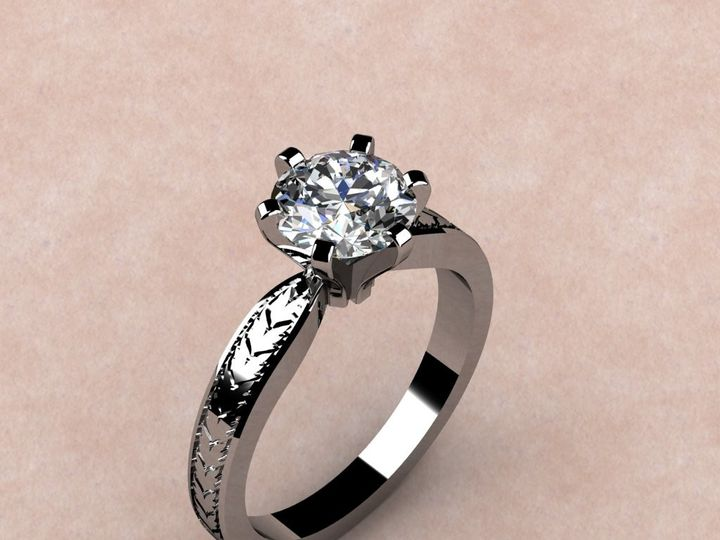 Tmx 1435332306482 6 Prong Solitaire Mounting W Etching Lutherville Timonium wedding jewelry