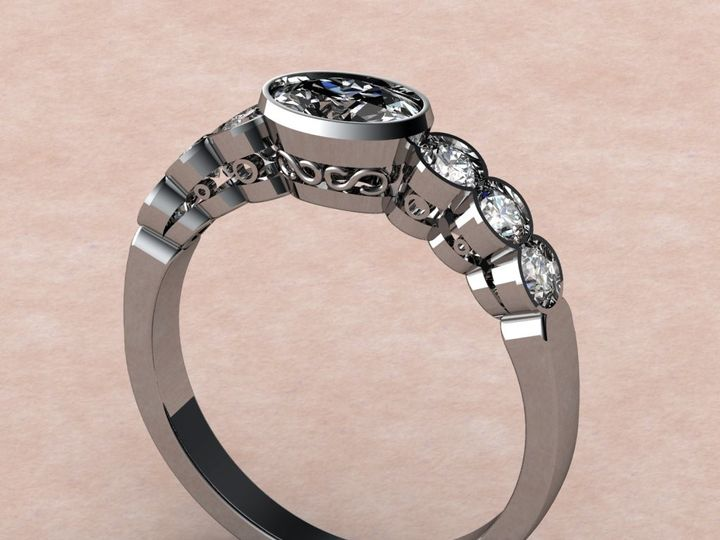 Tmx 1435332419439 Oval Center Stone With 6 Round Side Diamonds Lutherville Timonium wedding jewelry