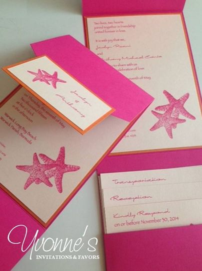 Starfish themed pink invites