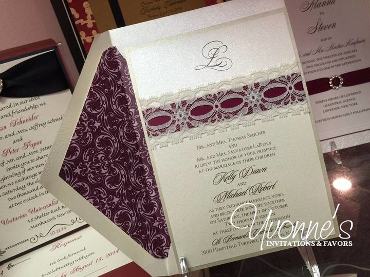 Tmx 1497557005781 Lace And Ribbon   Keyy  Michael Hicksville, New York wedding invitation