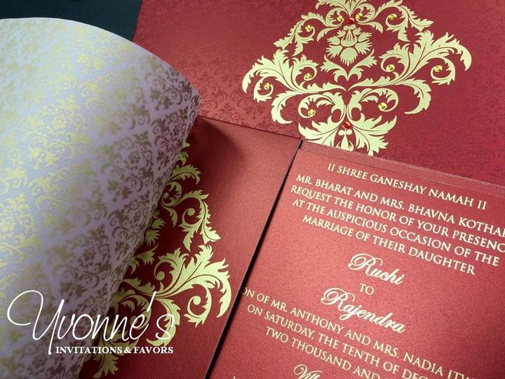 Tmx 1497557125548 Red And Gold Indian Wedding Invite1 Hicksville, New York wedding invitation