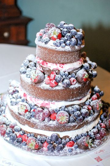 Chocolate Lovers Heirloom Pound Cake loaded with chocolate covered strawberries, blueberries,...