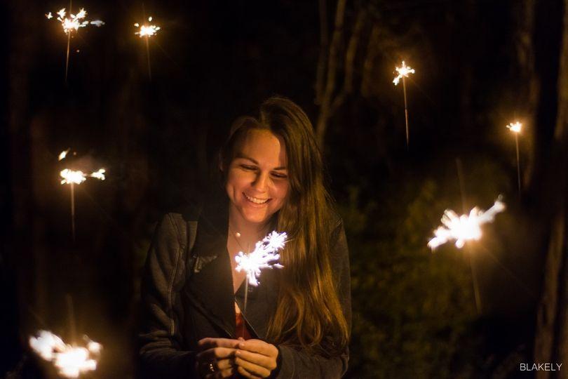 Bride holding up a sparkler