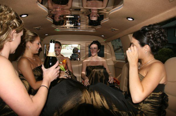 Bridal party in Porsche Limo