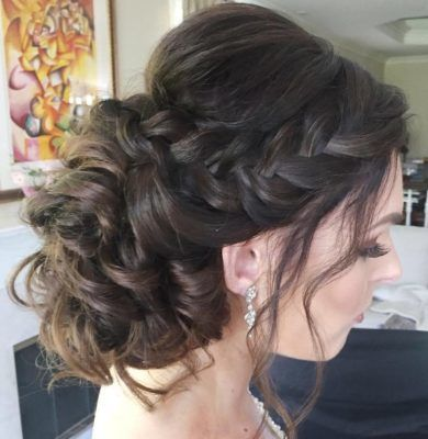 Shelly: Pinned curls, with side braid up-do