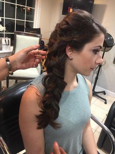 Maria: long, side braid
