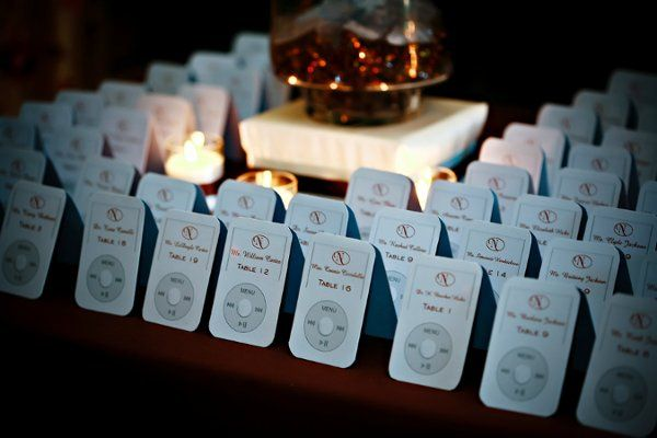 Ipod host cards.  Corey proposed to Kristen on an Ipod and they incorporated that theme into their...