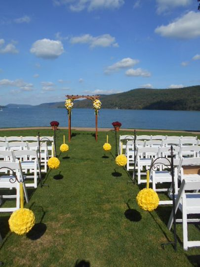 Lakefront wedding setup