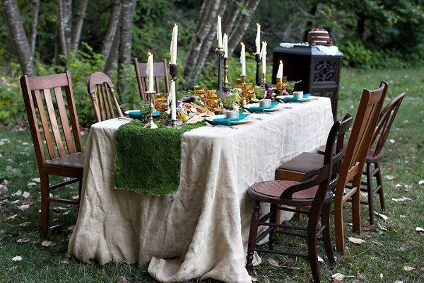 Inventory items ~ burlap tablecloth, brass candlesticks, mismatched china, colored glass goblets,...