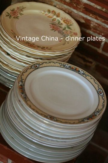 Hundreds of patterns ~ mismatched vintage dinner and dessert plates...