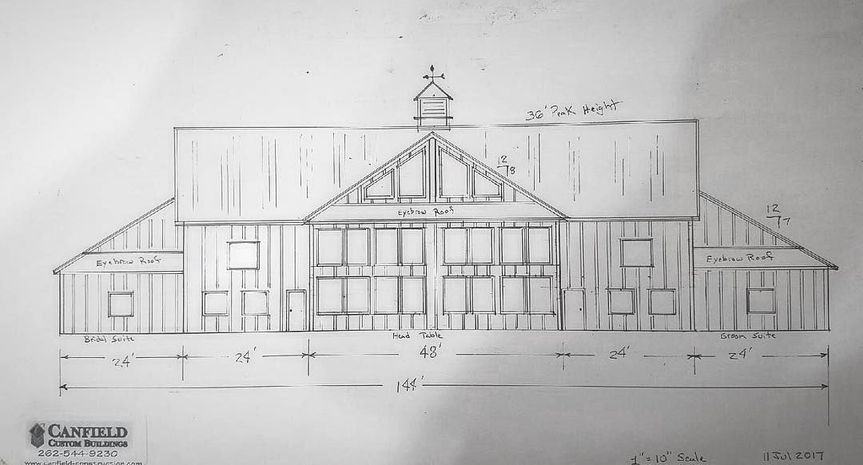 An early drawings of the back of the building. Look at all those windows!