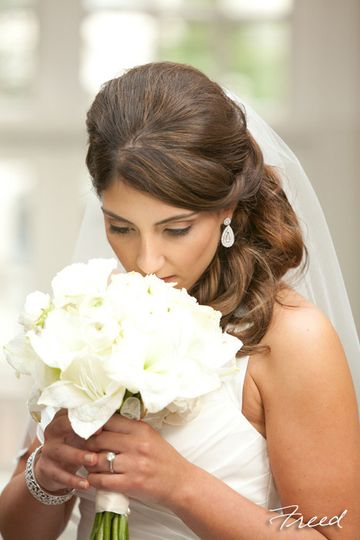 Bride's side swept hair