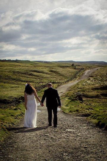 Hand in hand on the long road of life after tying the knot at Sea View House in Doolin