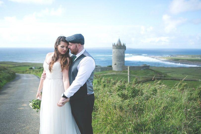 Fairytale Doonagore Castle looking west towards the Aran Islands