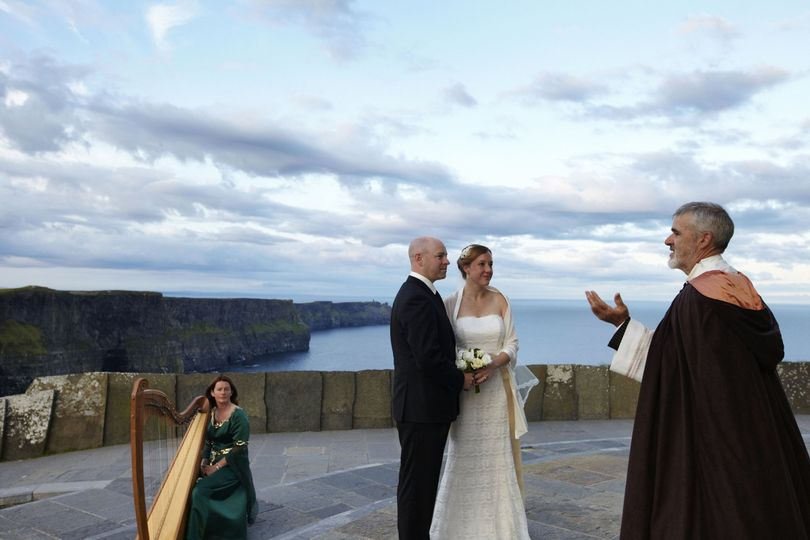 Early morning wedding ceremony at the Cliffs of Moher