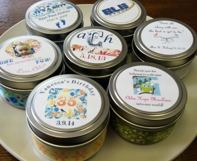 4 oz soy candle tins with custom labels for your event!