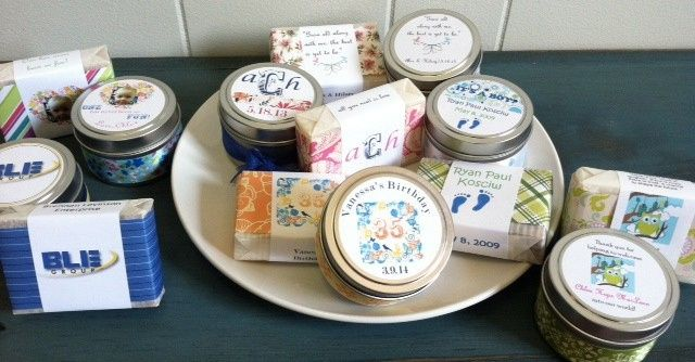 Customized soap and candle favors.