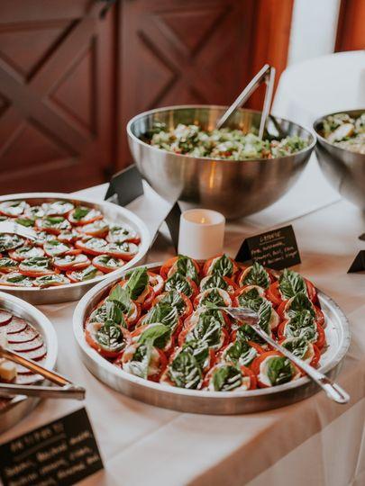 Caprese platter and salads