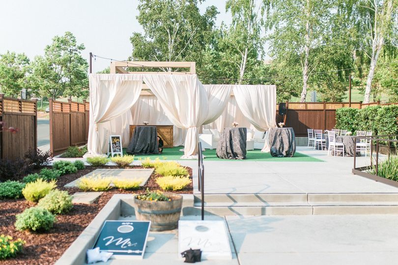 A satellite bar and lounge furniture transforms the garden patio