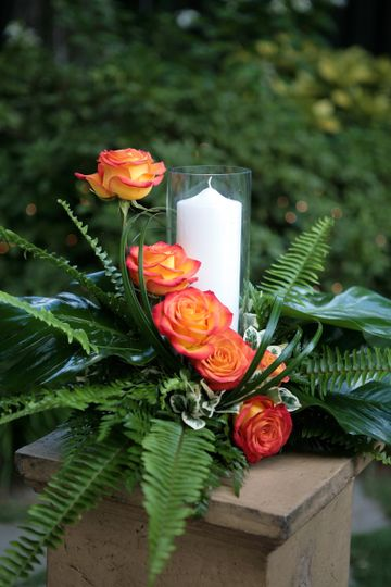 Flower and candle setup