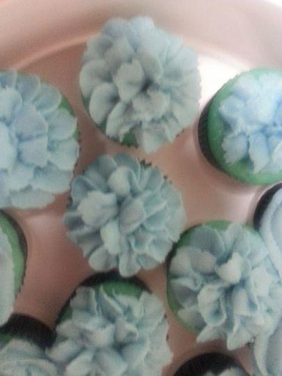 blue cupcakes closeup