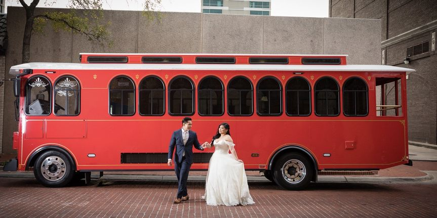 Red trolley bus