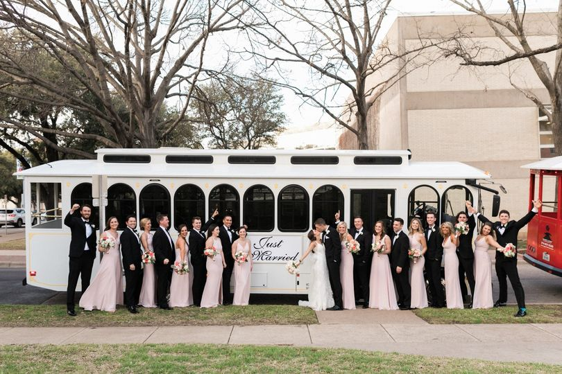 Wedding party with the trolley
