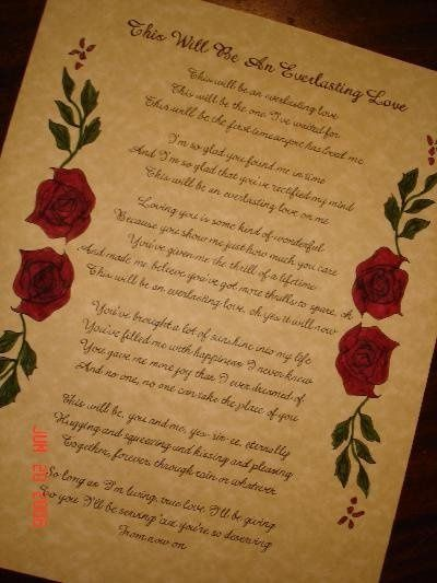 Calligraphy for song lyrics with hand-drawn roses as an accent.
