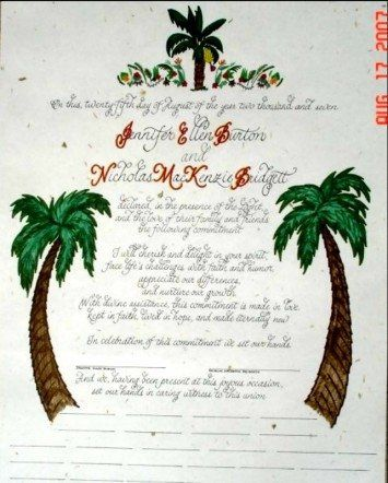 Tropical themed Quaker wedding certificate